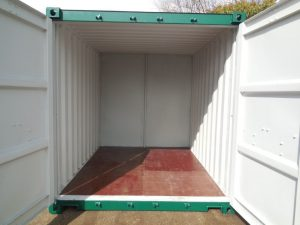 Interior of a 10 x 8 storage container from Trading Spaces