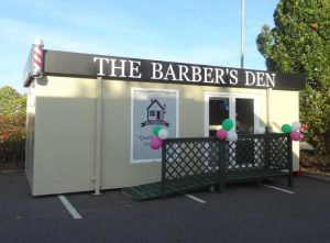 Portable office or trading unit for Barbers Den, Asda Colchester supplied by Trading Spaces, Essex