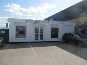 Temporary portable office hire for John Pease, Braintree whilst showrooms were refurbished.