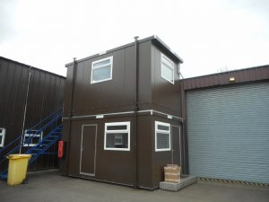 Bespoke portable office units in Essex. Stacking office unit with stairs from Trading Spaces, Essex
