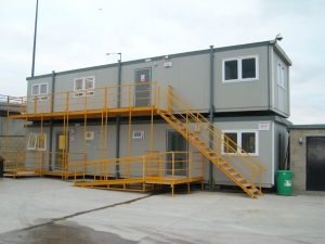 New bespoke portable office units installed at Hanson Concrete, Silvertown, East London by Trading Spaces, Essex