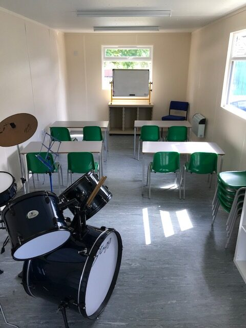 Portable office hired as a classroom to help with social distancing during Covid 19